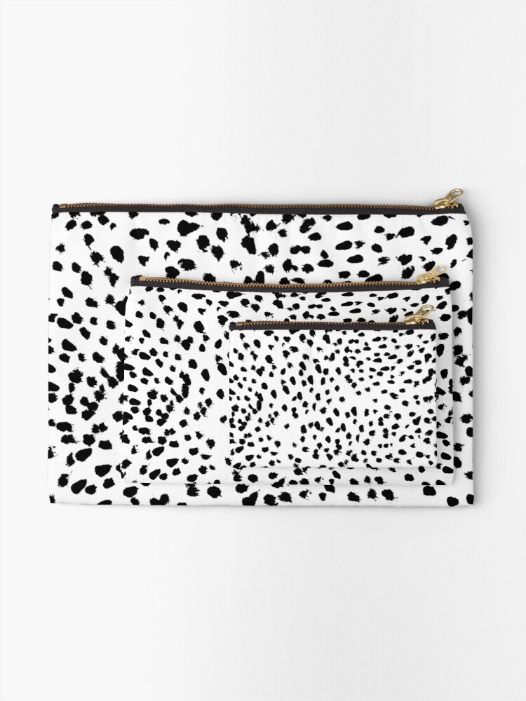 Alternate view of Nadia - Black and White, Animal Print, Dalmatian Spot, Spots, Dots, BW Zipper Pouch