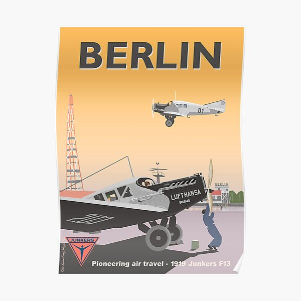 Tempelhof Airport, Berlin with Junkers A Poster