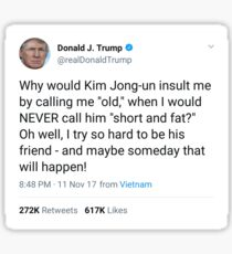 Trump Tweet Short Fat  Sticker