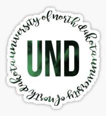 UND - University of North Dakota Green Ink Circle Sticker