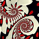 Red and Black Swirl Fractal by Pam Blackstone