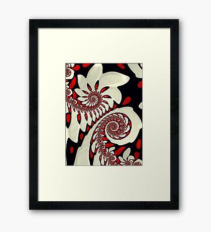 Red and Black Swirl Fractal Framed Print