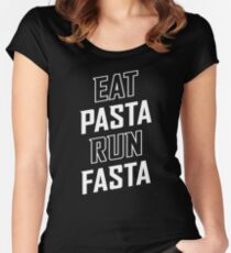 Eat Pasta Run Fasta Women's Fitted Scoop T-Shirt