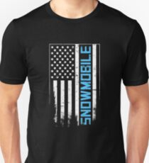 Distressed Snowmobile & United States Flag T-Shirt