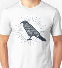 """Raven with Spiritual Quote """"Without Darkness One Cannot Know Light"""" Unisex T-Shirt"""