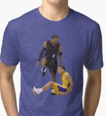 Allen Iverson Steps Over Tyronn Lue Low Poly Tri-blend T-Shirt