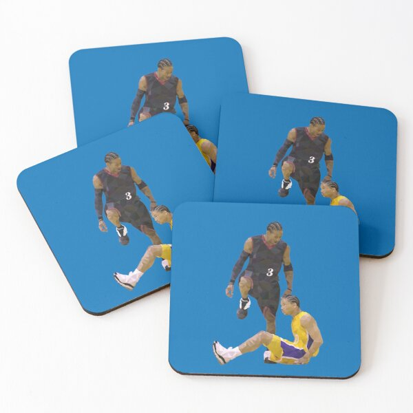 Allen Iverson Steps Over Tyronn Lue Low Poly Coasters (Set of 4)