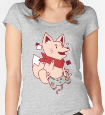 Vintage Hipster Nerdy Video Game Fox Sticker and t-shirt Women's Fitted Scoop T-Shirt