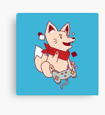 Vintage Hipster Nerdy Video Game Fox Sticker and t-shirt Canvas Print