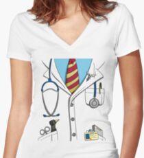 Doctor Costume - Halloween Women's Fitted V-Neck T-Shirt
