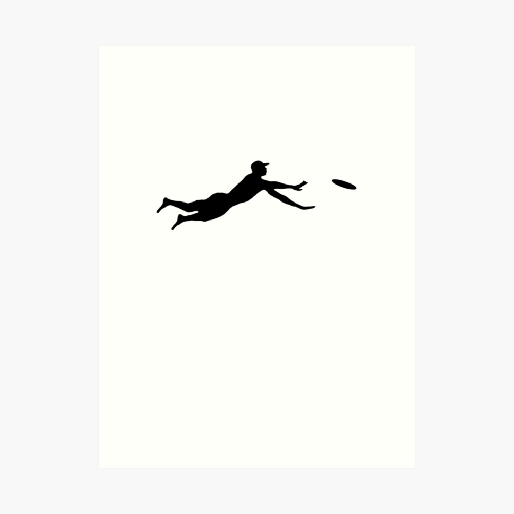 Quot Ultimate Frisbee Layout Silhouette Dive Jump Catch Quot Art