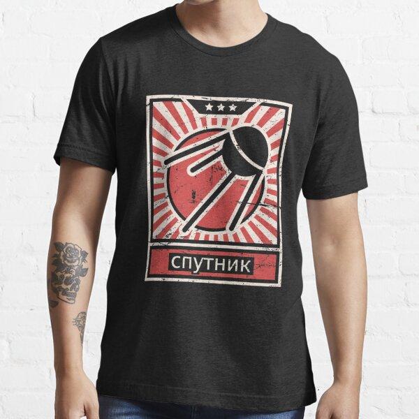 """Sputnik"" Vintage Space Race Propaganda Poster Essential T-Shirt"