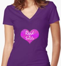 Open Heart || Read & Smiles Women's Fitted V-Neck T-Shirt