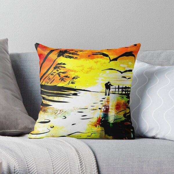 'vivid beach' Throw Pillow