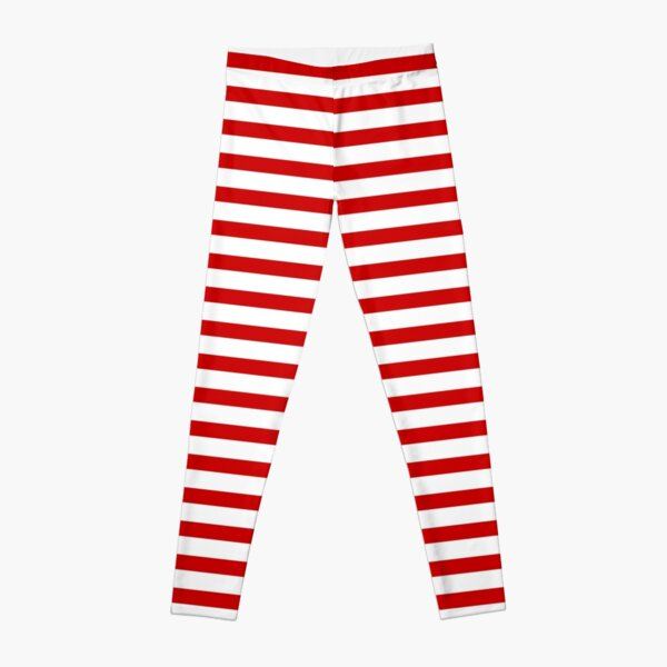 Red and White Stripes Leggings