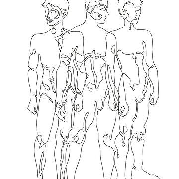 black one line male figures  by anneamanda