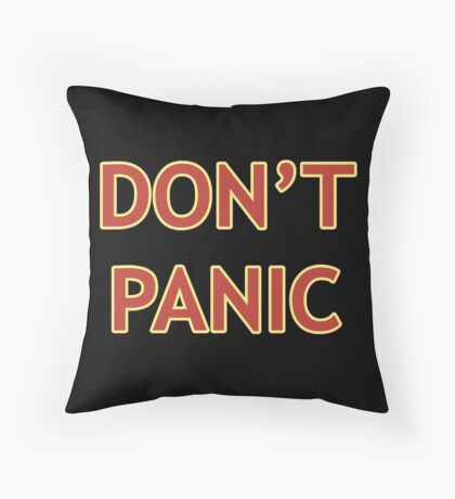 Don't Panic - Hitchhiker's Guide to the Galaxy Throw Pillow