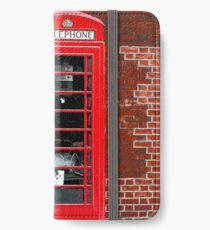 Red Phone Box- London England UK iPhone Wallet/Case/Skin