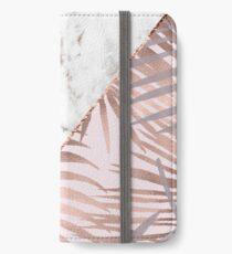 Vinilo o funda para iPhone Rose gold marble & tropical helechos