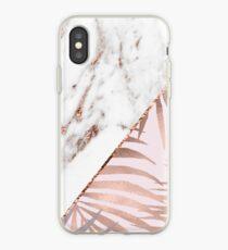Roségold-Marmor und tropische Farne iPhone-Hülle & Cover