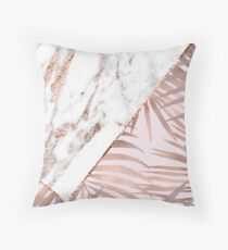 Rose gold marble & tropical ferns Throw Pillow