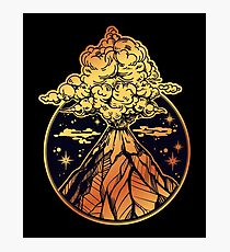 Volcano Erupting in Gold & Black Photographic Print