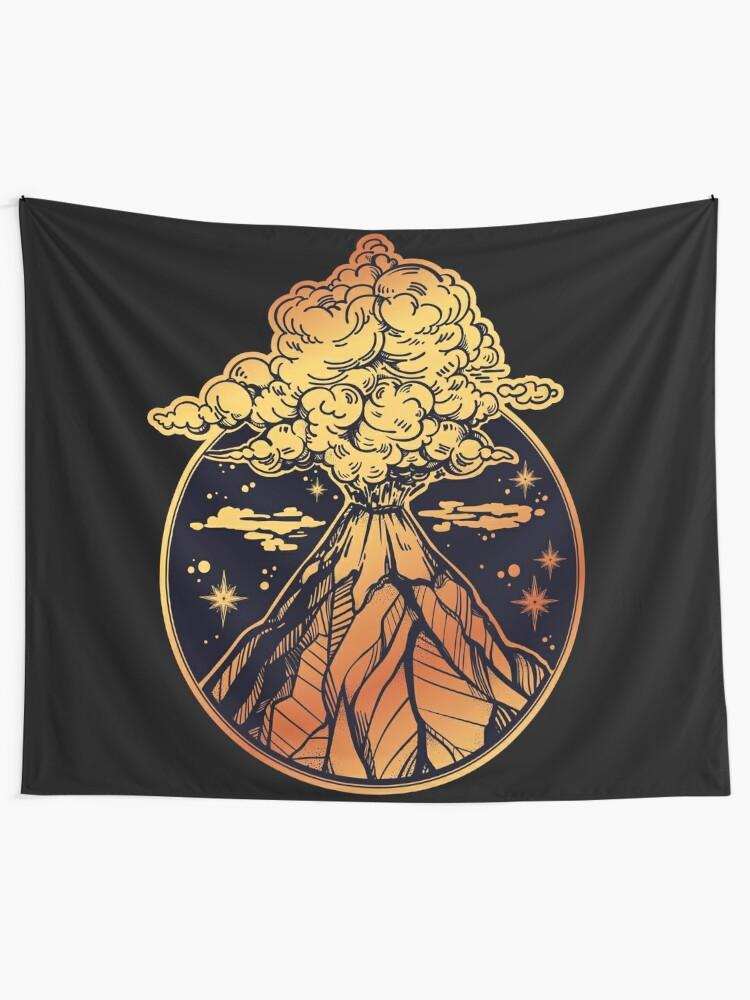 Alternate view of Volcano Erupting in Gold & Black Tapestry