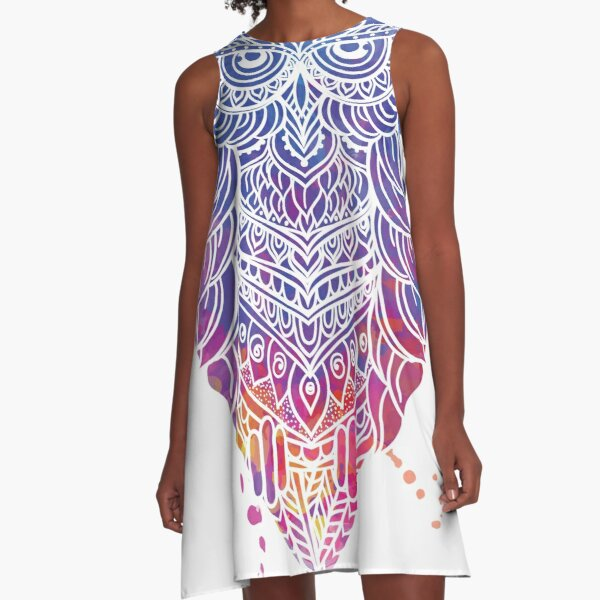 Rainbow Watercolor Wise Owl A-Line Dress