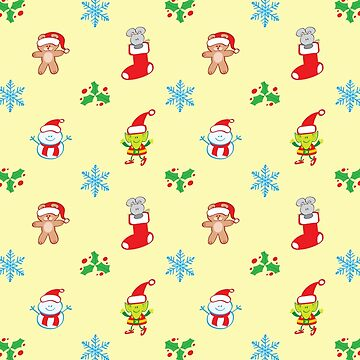 Cute mouse, snowman, teddy bear and elf in a Christmas pattern by Zoo-co