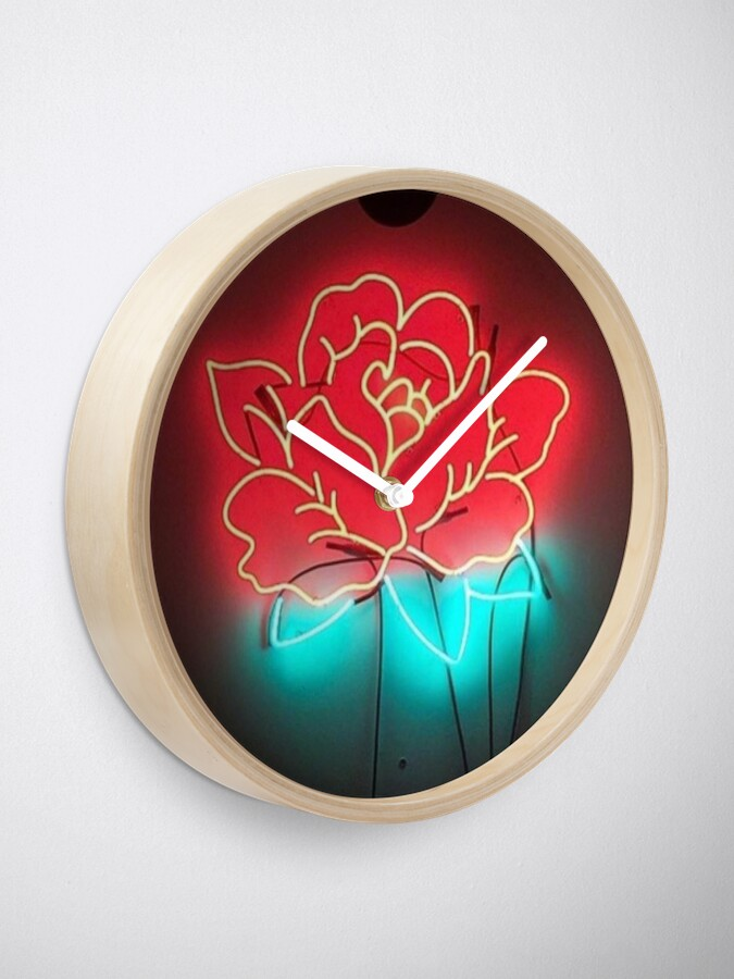 Alternate view of neon rose Clock