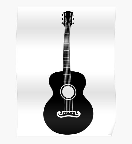 Akustische Gitarre Silhouette Poster