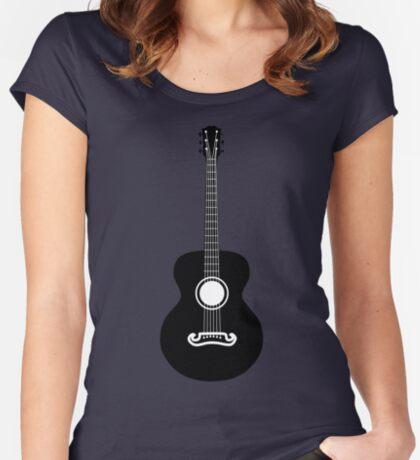 Akustische Gitarre Silhouette Tailliertes Rundhals-Shirt