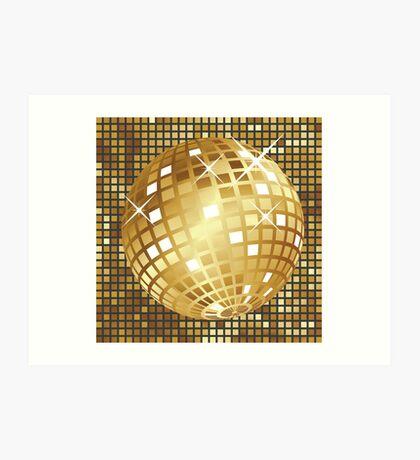 Goldene Discokugel Kunstdruck