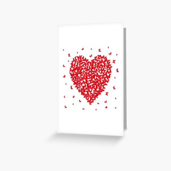 Heart - summer card design, red butterfly on white background Greeting Card