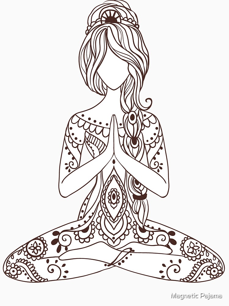 Paisley Meditating Goddess in Lotus Pose by MagneticMama