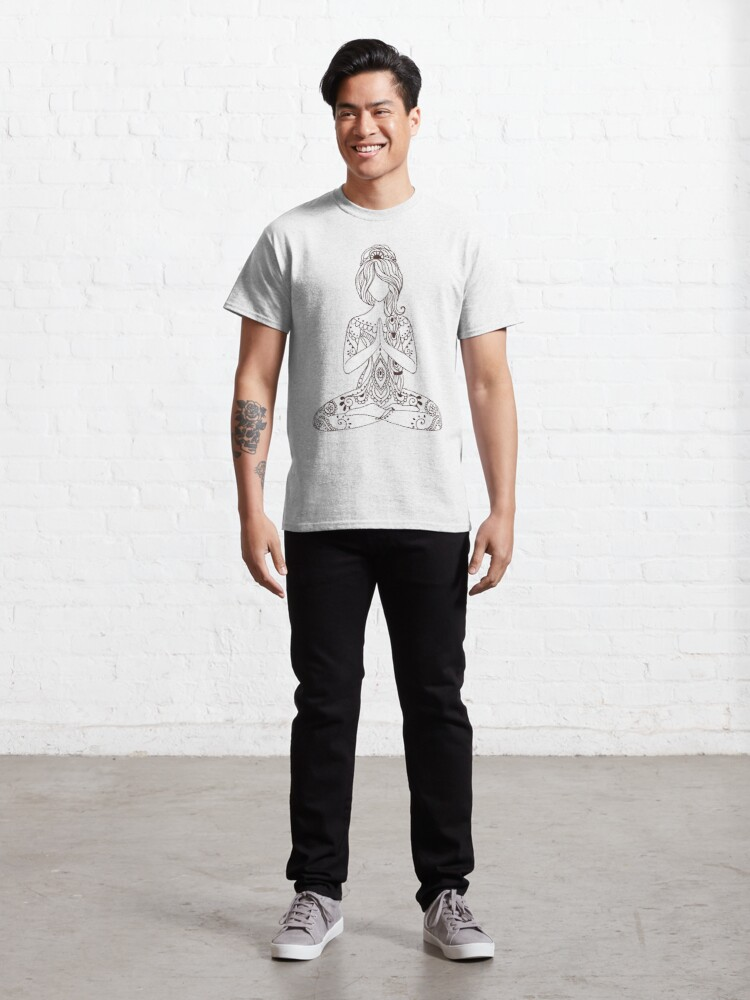 Alternate view of Paisley Meditating Goddess in Lotus Pose Classic T-Shirt