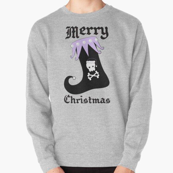 Pastel Goth Christmas | Creepy Stocking | Santa Skull & Cross Bones Pullover Sweatshirt