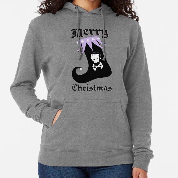 Pastel Goth Christmas | Creepy Stocking | Santa Skull & Cross Bones Lightweight Hoodie
