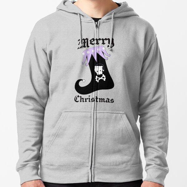 Pastel Goth Christmas   Creepy Stocking   Santa Skull & Cross Bones Zipped Hoodie