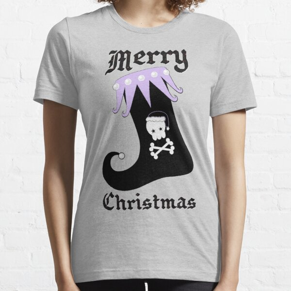 Pastel Goth Christmas   Creepy Stocking   Santa Skull & Cross Bones Essential T-Shirt
