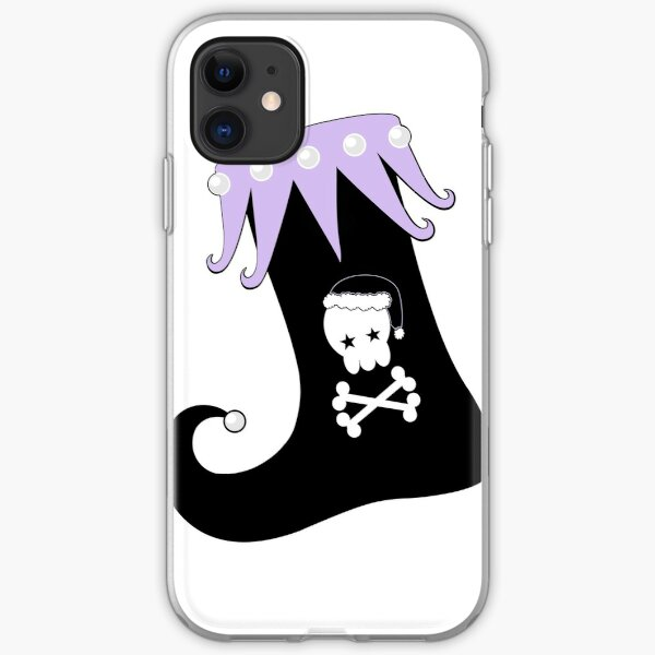 Pastel Goth Christmas | Creepy Stocking | Santa Skull & Cross Bones iPhone Soft Case