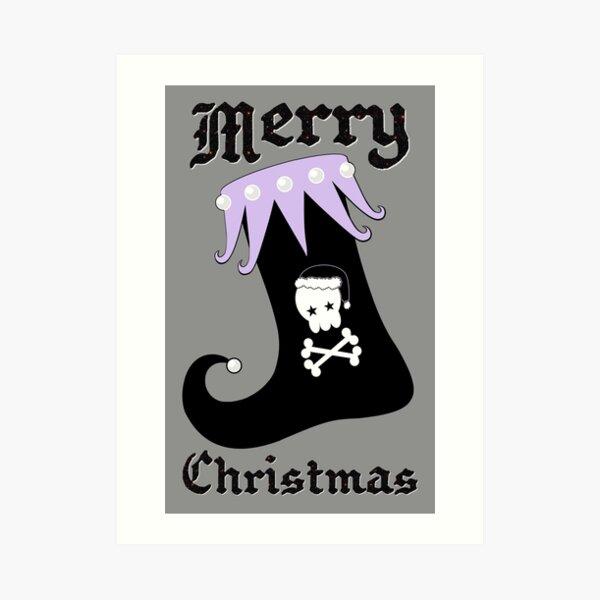 Pastel Goth Christmas | Creepy Stocking | Santa Skull & Cross Bones Art Print