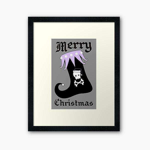 Pastel Goth Christmas   Creepy Stocking   Santa Skull & Cross Bones Framed Art Print