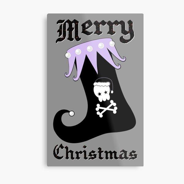 Pastel Goth Christmas   Creepy Stocking   Santa Skull & Cross Bones Metal Print