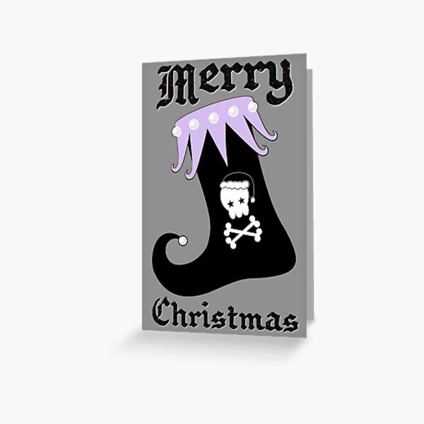 Pastel Goth Christmas | Creepy Stocking | Santa Skull & Cross Bones Greeting Card