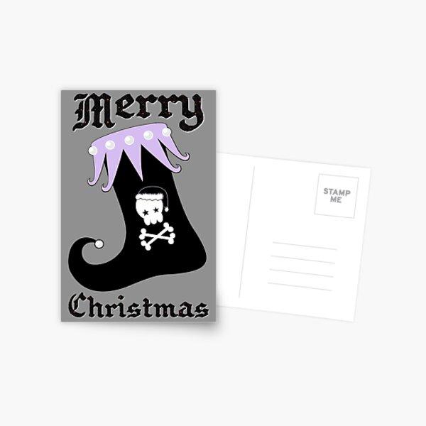 Pastel Goth Christmas | Creepy Stocking | Santa Skull & Cross Bones Postcard
