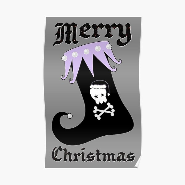 Pastel Goth Christmas | Creepy Stocking | Santa Skull & Cross Bones Poster