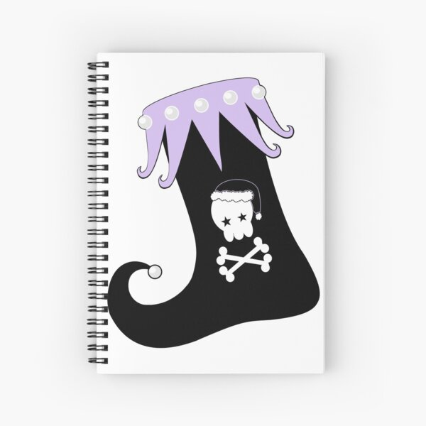 Pastel Goth Christmas   Creepy Stocking   Santa Skull & Cross Bones Spiral Notebook