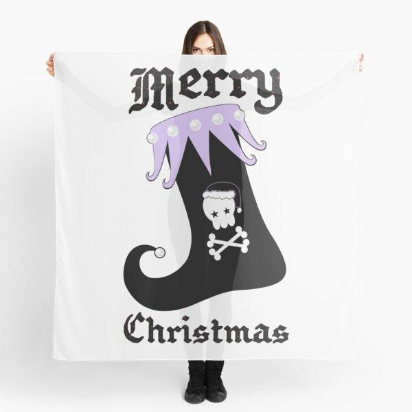 Pastel Goth Christmas | Creepy Stocking | Santa Skull & Cross Bones Scarf