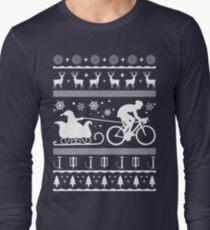 Funny Ugly Cycling Santa's Sleigh Christmas Shirt Long Sleeve T-Shirt